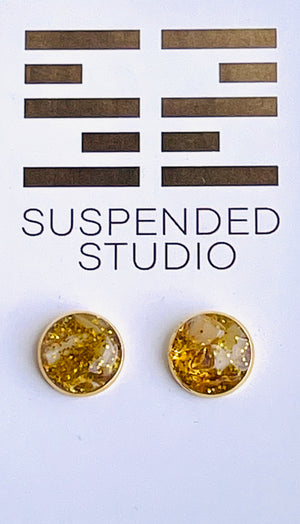 Yellow and Gold Sparkly Recycled Glass Earrings