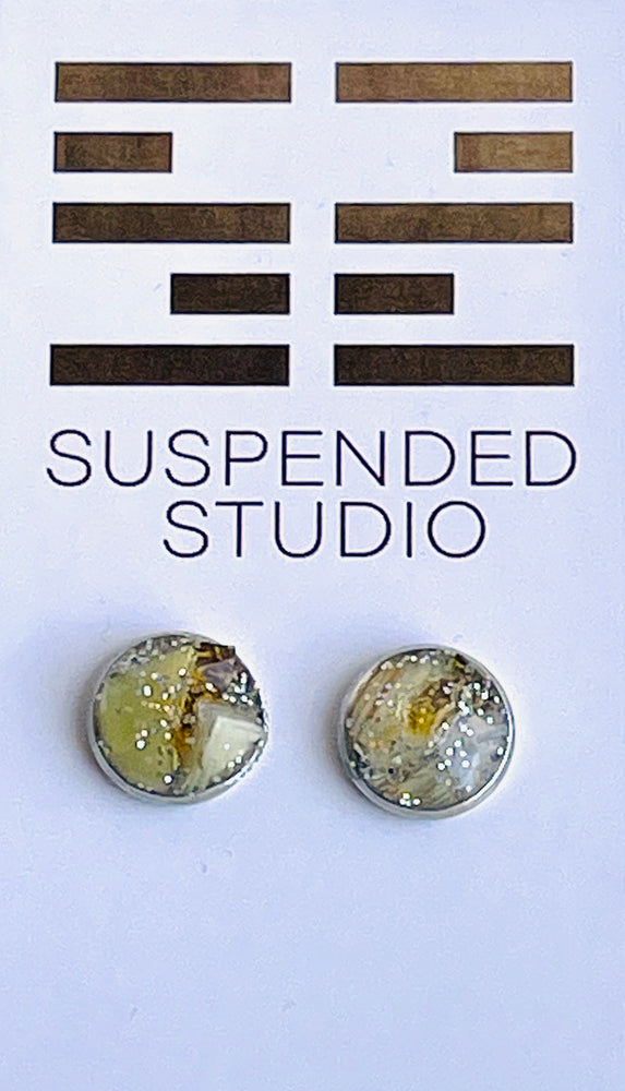 Yellow and Silver Sparkly Recycled Glass Earrings