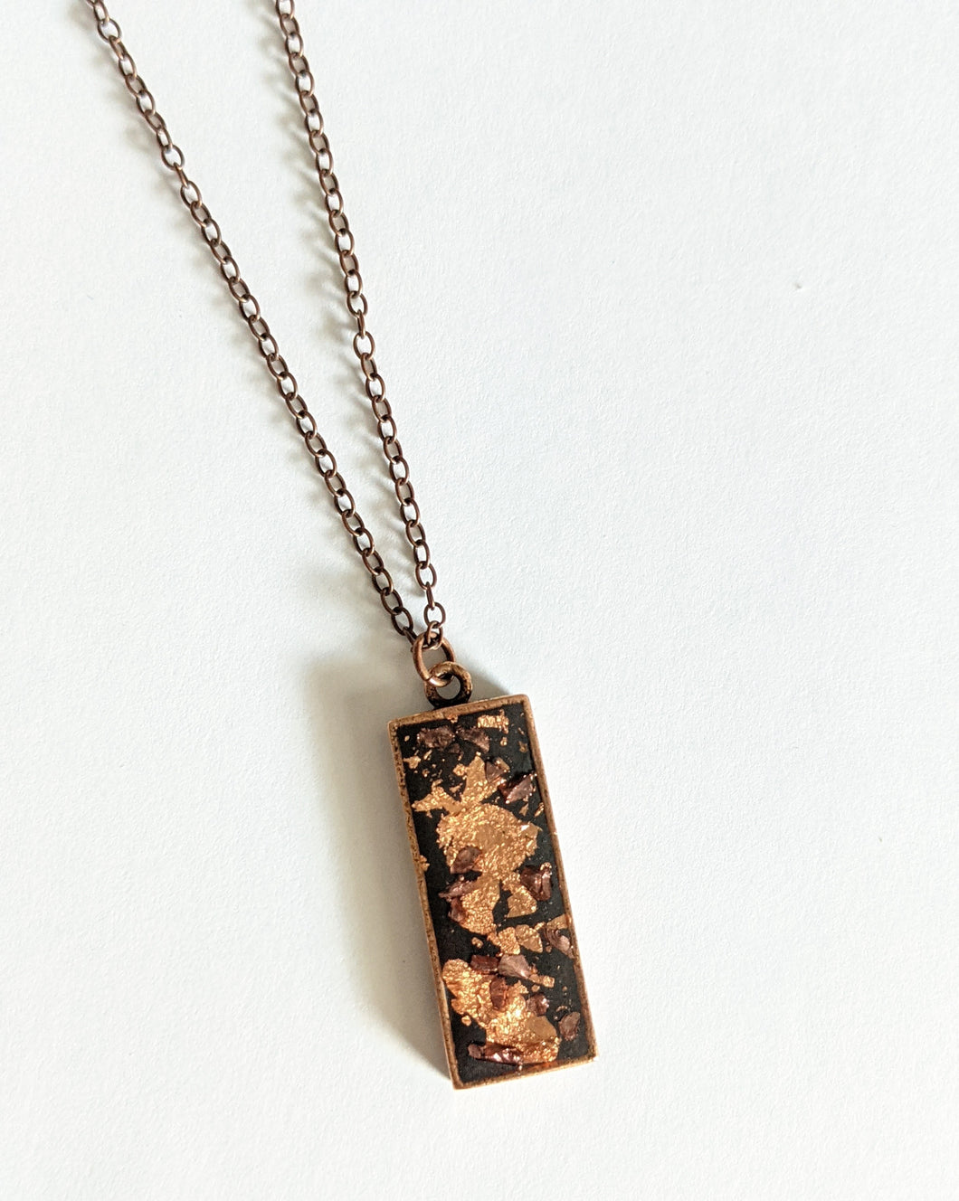 Glass Rock and Copper Leaf Necklace