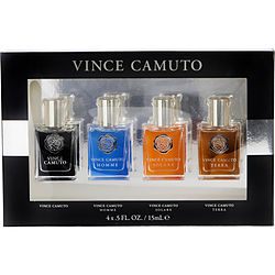VINCE CAMUTO VARIETY 4 PIECE MENS VARIETY WITH MAN & HOMME & TERRA & SOLARE AND ALL ARE EDT .5 OZ MINIS