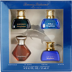 TOMMY BAHAMA VARIETY 4 PIECE VARIETY WITH TOMMY BAHAMA FOR HIM & MARTINIQUE & ST. BARTS & ST. KITTS AND ALL ARE EAU DE COLOGNE SPRAY .5 OZ