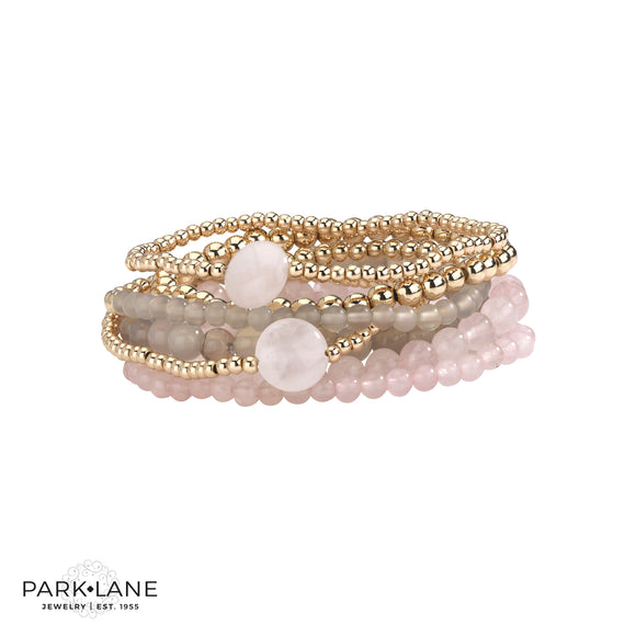 Park Lane Ashton Bracelets - Set of 7 Stackable with Genuine Pink Quartz & Amethyst