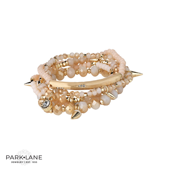 Park Lane Creme Bracelet Matte Gold with Crystals