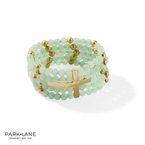 Park Lane Grace Bracelet Genuine Jade Beads in Minty Green