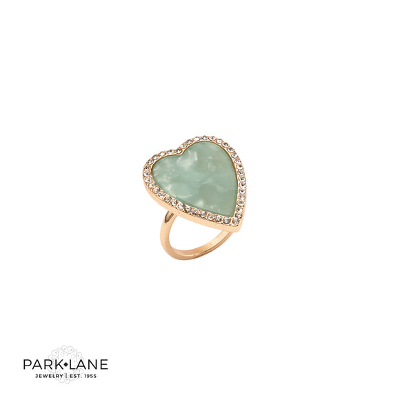 Park Lane Spearmint Ring Statement Heart with Micro Pave Crystals
