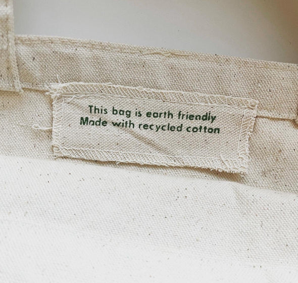 This bag is earth friendly. Made with recycled cotton tag.