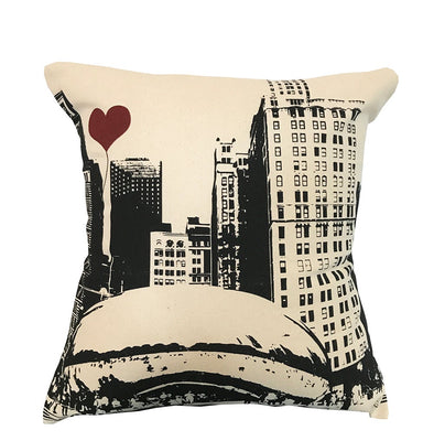 Chicago Lover's The Bean Square Cotton Canvas Throw Pillow