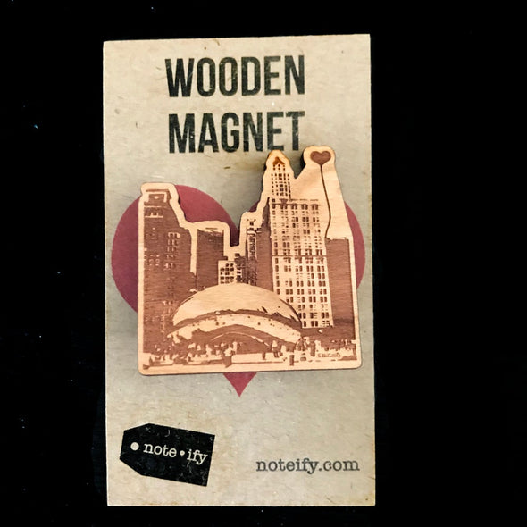 Chicago 'The Bean' Wooden Magnet