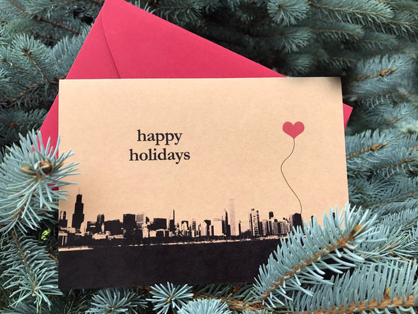 Happy Holidays Chicago Skyline Note Card Set of 8