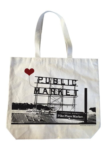 Seattle Pike Place Public Market Heavyweight Canvas Tote Bag