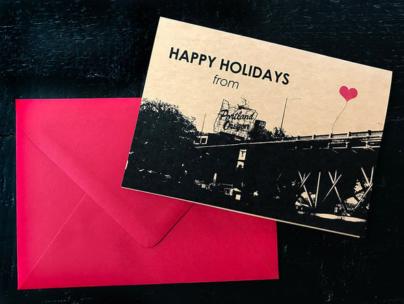 Happy Holidays from Portland, Oregon set of 8 note cards