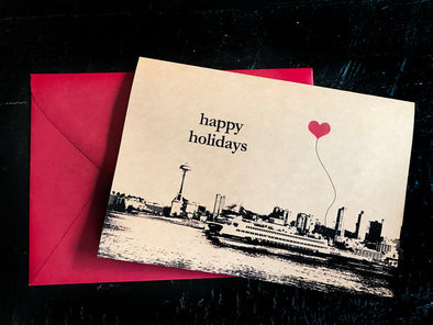 Happy Holidays Seattle Ferry Boat Space Needle set of 8 note cards
