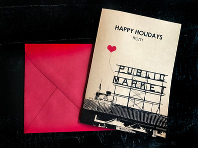Happy Holidays from Pike Place Market Seattle set of 8 note cards