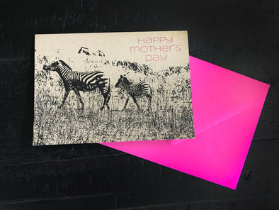 Happy Mother's Day Zebra single note card