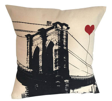 Brooklyn Bridge Square Canvas Throw Pillow