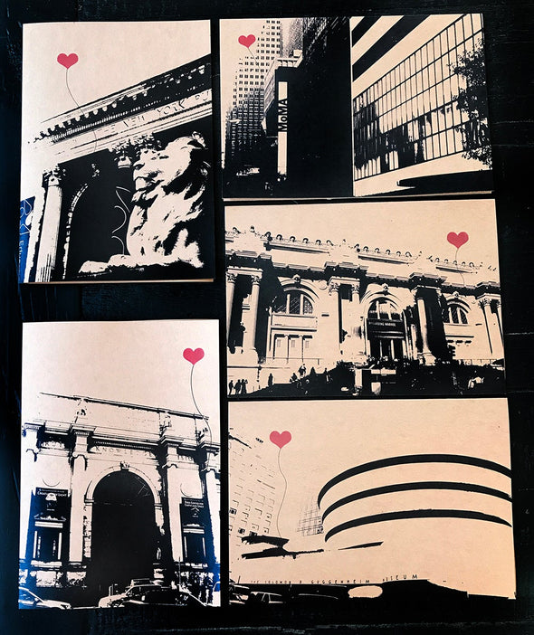 NYC Lover's Museums and Library set of 5 note cards