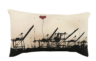 Oakland Shipping Cranes Rectangular Canvas Throw Pillow