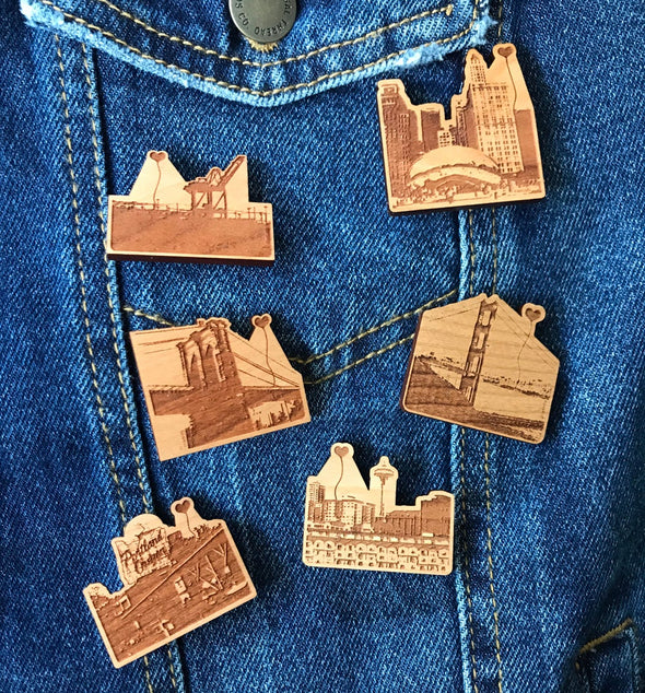 Chicago 'The Bean' Wooden Pin