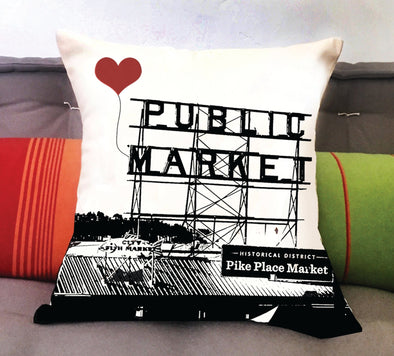 Seattle Pike Place Market Square Pillow
