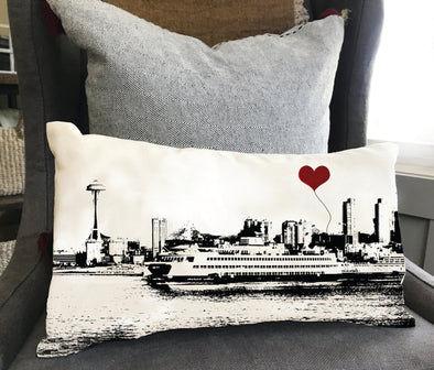 Seattle Ferry and Space Needle Rectangular Pillow
