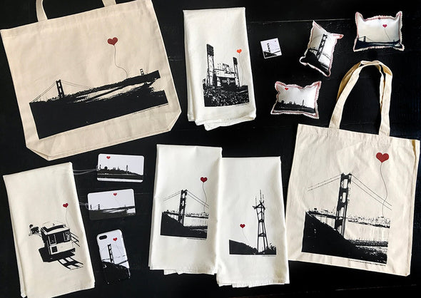 San Francisco Golden Gate Bridge recycled cotton canvas tote bag
