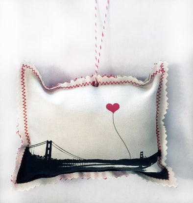 San Francisco Golden Gate Bridge Wideshot Fabric Ornament