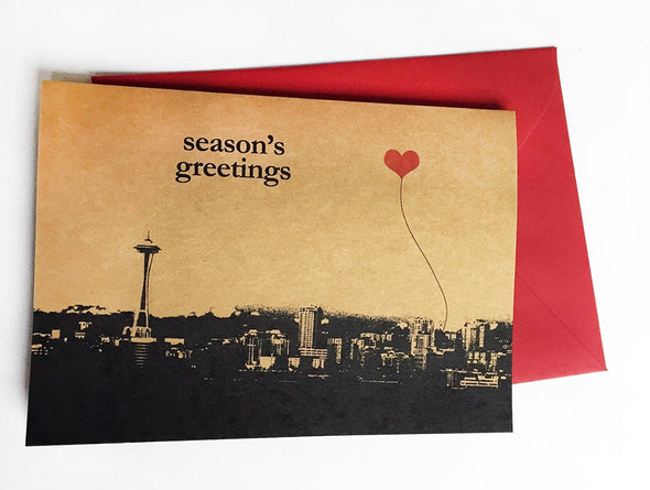 Season's Greetings Seattle Space Needle set of 8 note cards