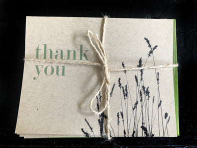 Thank You w/Wheat Set of 8 note cards