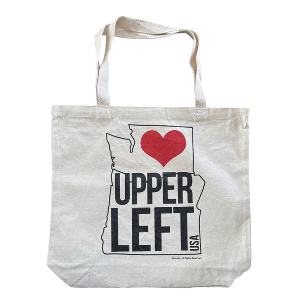 Upper Left USA Outline Washington Oregon Heavyweight Canvas Tote Bag