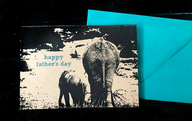 Happy Father's Day Elephants single note card