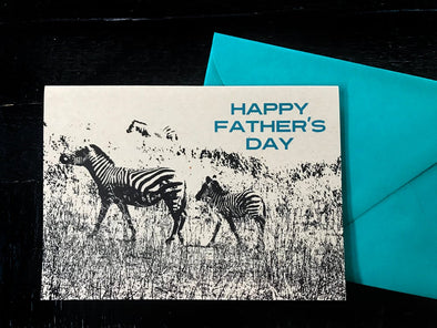 Happy Father's Day Zebras single note card