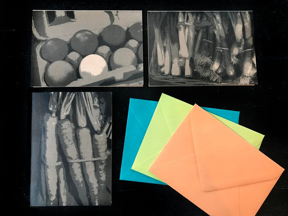 Freshly Picked Carrots, Green Onions and Eggs note cards