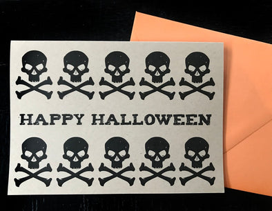 Happy Halloween with Skulls note card