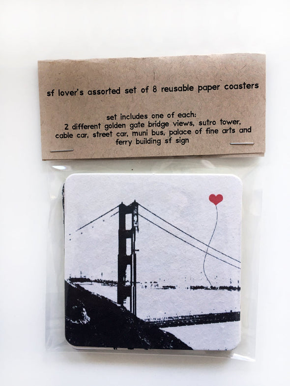 San Francisco Lover's Paper Coaster assorted set of 8