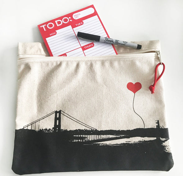San Francisco Golden Gate Bridge Canvas Zipper Pouch