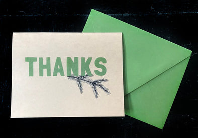 Thank You with Fir set of 8 note cards