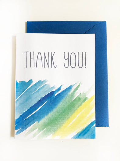 Thank You Blues Watercolor single note card