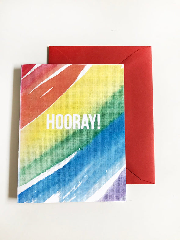 Hooray Rainbow Watercolor single note card