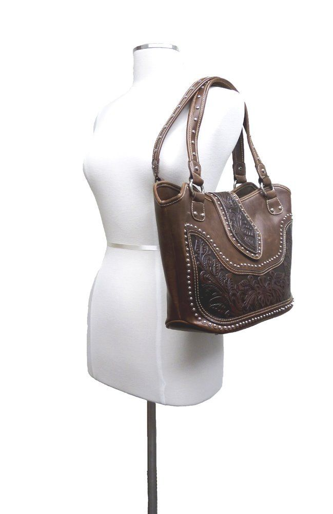 Concealed Carry Western Tooled Leather Purse - Coffee