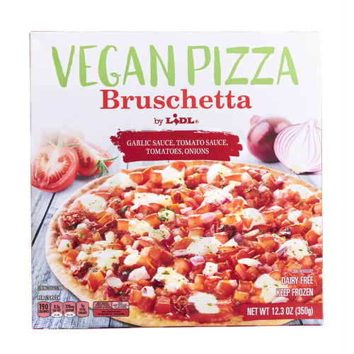 Lidl frozen vegan pizza, bruschetta
