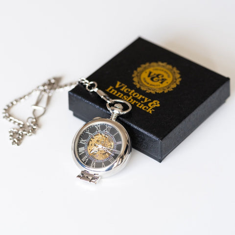 Skeleton Pocket Watch | Silver | The Milburn