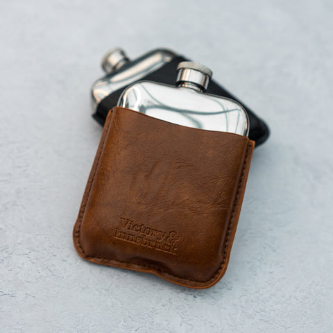 Leather Cased Hip Flask | Brown Tan Leather | 6oz Stainless Steel