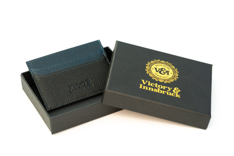 Slim Leather Card Holder Wallet | Black / Navy Blue
