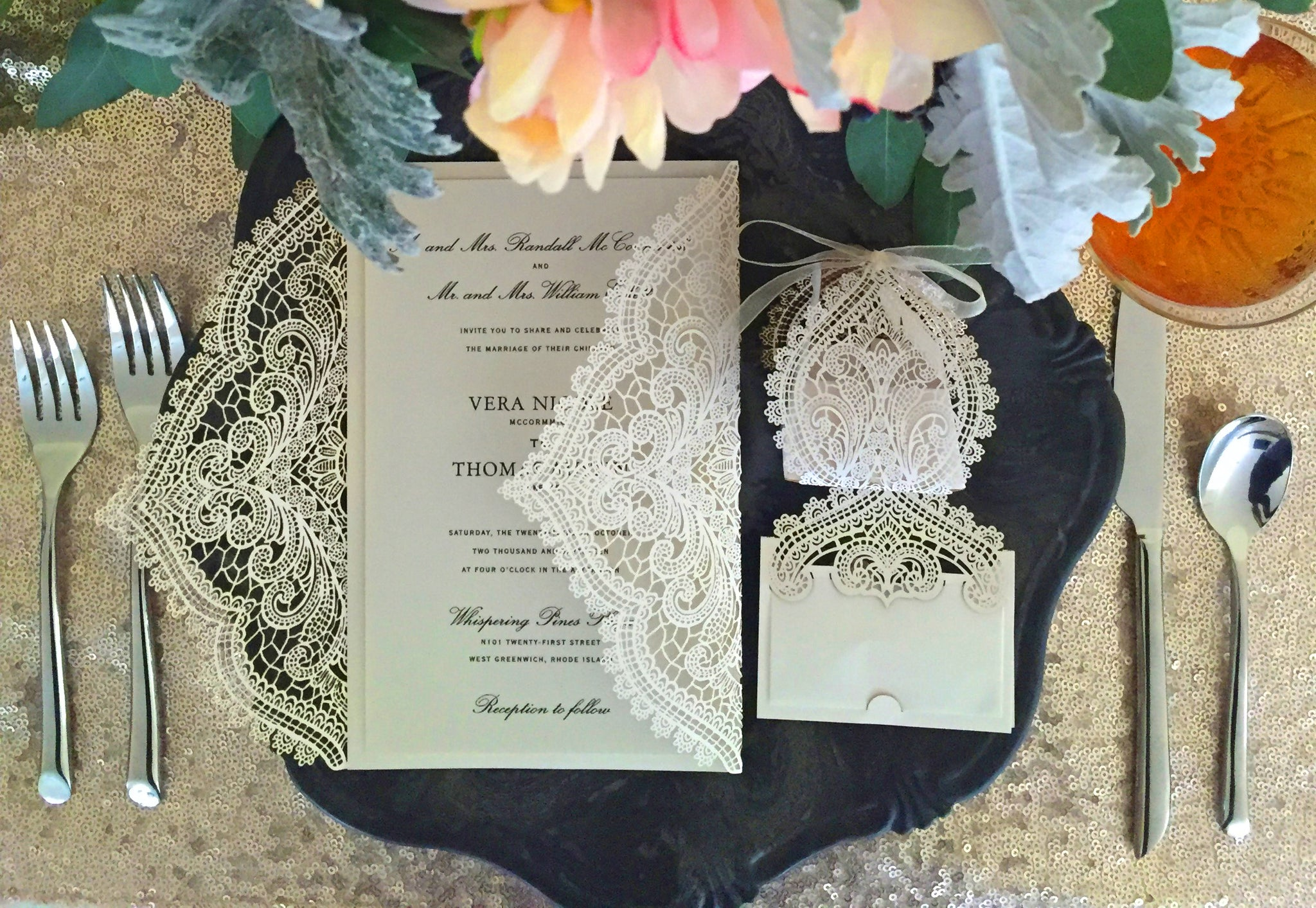 chantilly lace wedding invite
