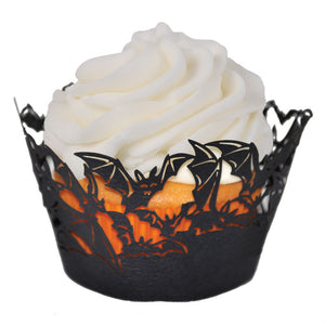 Laser Cut Cupcake Wrappers - Unique Cupcake Wraps Perfect for a Halloween Party; The Style is Bats