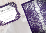 Bohemian Lace Laser Cut Invitation and Response Card in Purple Shimmer