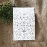 Bohemian Lace Laser Cut Invitation in White Matte