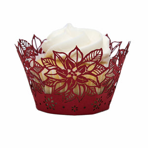 Holiday Flower Cupcake Wrapper - (Standard & Mini Sizes)