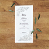 Chantilly Lace Tea Length Menu / Program