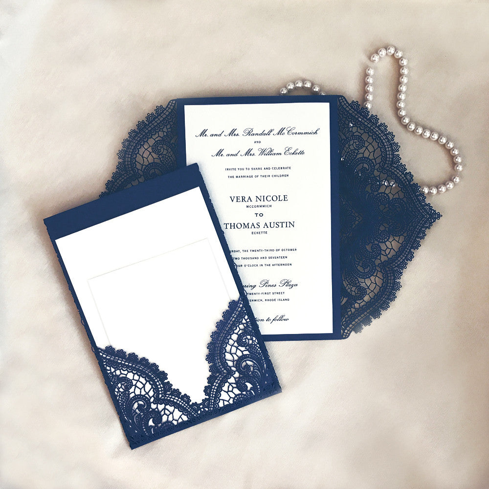 Laser Cut Wedding Invitation Pocket Chantilly Lace A9 Paper Orchid